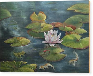 My Busy Lilly Pond Wood Print by Ceci Watson