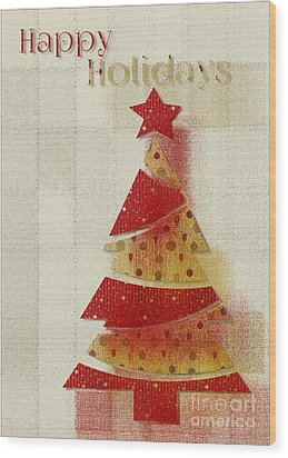 My Christmas Tree 02 - Happy Holidays Wood Print by Aimelle