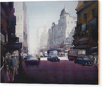 Wood Print featuring the painting My City At Morning by Samiran Sarkar