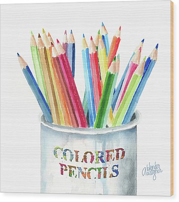 My Colored Pencils Wood Print by Arline Wagner