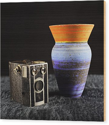 Wood Print featuring the photograph My Dad's Camera by Jeremy Lavender Photography