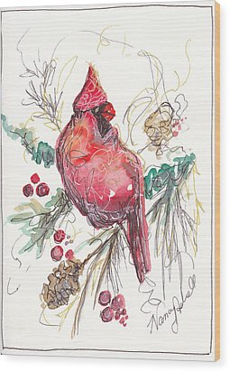 My Favorite Cardinal Wood Print by Michele Hollister - for Nancy Asbell