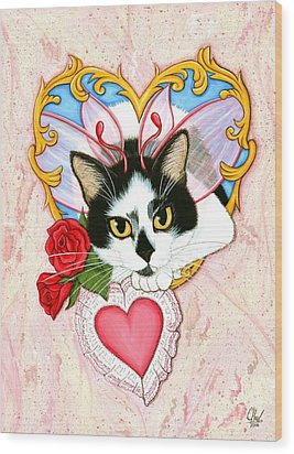 Wood Print featuring the painting My Feline Valentine Tuxedo Cat by Carrie Hawks