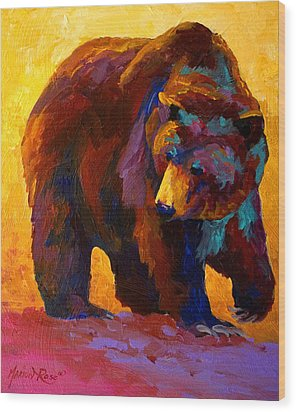 My Fish - Grizzly Bear Wood Print by Marion Rose