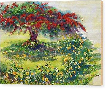 My Flamboyant Tree Wood Print by Estela Robles