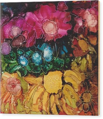 My Flower Garden Wood Print by Suzanne Canner
