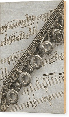 My Flute Photo Sketch Wood Print