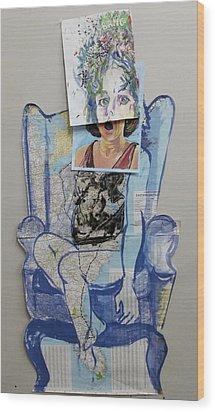 Wood Print featuring the painting My Foot Is In Miami by Tilly Strauss