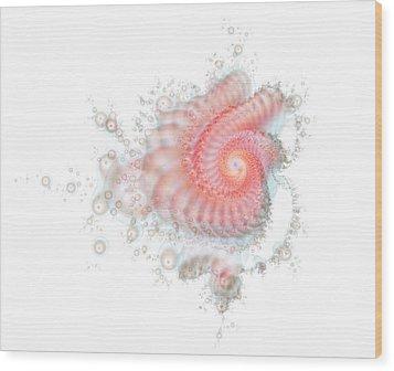 Wood Print featuring the digital art My Fractal Heart by Fran Riley