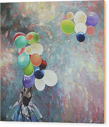 Wood Print featuring the painting My Friend The Wind. by Anastasija Kraineva
