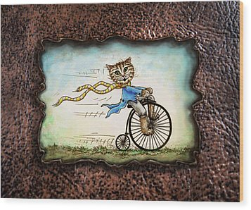 Living Flamboyantly Leather Border Wood Print by Retta Stephenson
