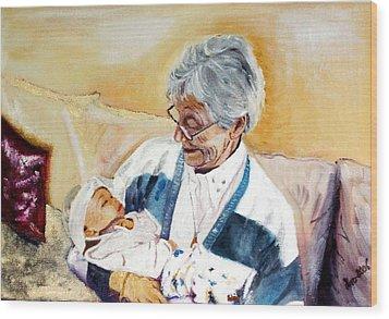 my granddaughter Leonie with her great grandmum Wood Print by Helmut Rottler