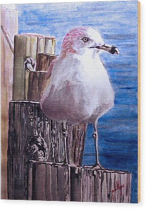 Wood Print featuring the painting My Gull by Jim Phillips