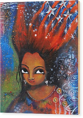 Wood Print featuring the mixed media My Hair Is Being Pulled By The Stars  by Prerna Poojara