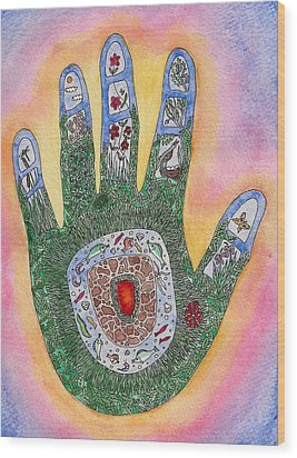 My Handprint On The World Wood Print by Melanie Rochat