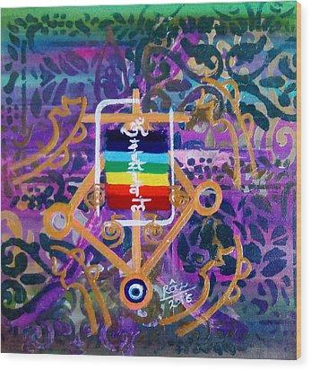 Plenary Healing My Happy Chakras Wood Print by Rizwana Mundewadi