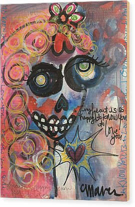Wood Print featuring the painting My Heart Is So Happy To Know You by Laurie Maves ART