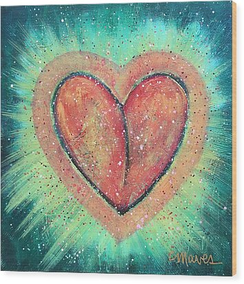 My Heart Loves You Wood Print by Laurie Maves ART