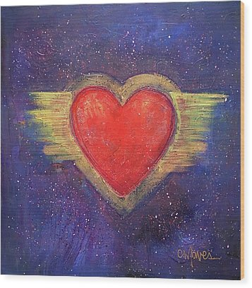 My Heart My Strength Wood Print by Laurie Maves ART