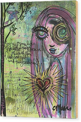 My Heart Sings Like This Little Bird Wood Print by Laurie Maves ART