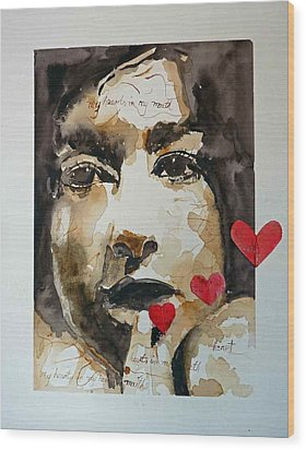 Wood Print featuring the painting My Hearts In My Mouth by P Maure Bausch