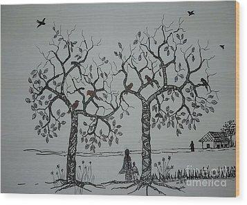My House Is On That Side Wood Print by Usha Rai
