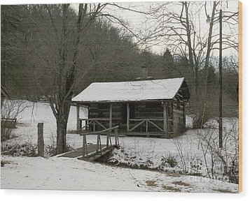 My Lil Cabin Home On The Hill In Winter Wood Print