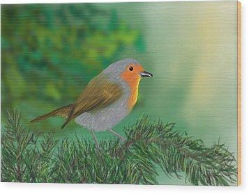 My Little Chickadee Wood Print by Harry Dusenberg