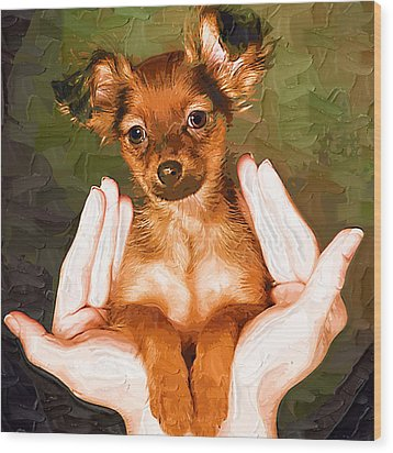 My Lovely Puppy Wood Print by Irene Pet Artist