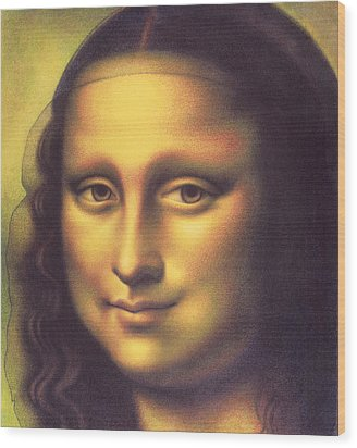 Wood Print featuring the drawing My Mona Lisa by Donna Basile