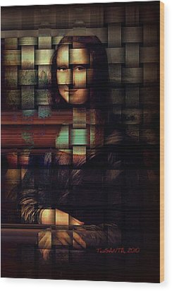 My Mona Lisa  Weave Series Wood Print by Teodoro De La Santa
