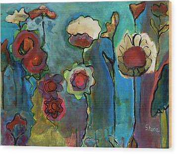 Wood Print featuring the painting My Mother's Garden by Susan Stone