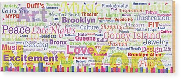 My New York In Words Wood Print by Kristi L Randall