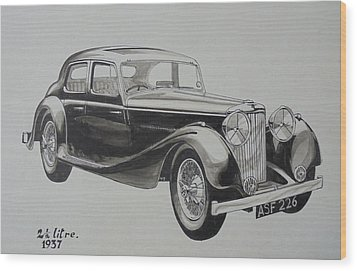 Wood Print featuring the drawing My Old Jag. by Mike Jeffries