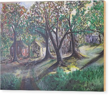 Wood Print featuring the painting My Old Southern Plantation Home by Gary Smith
