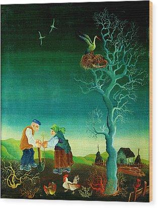 My Old Village  Wood Print by Leon Zernitsky
