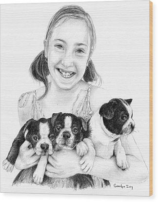 Wood Print featuring the drawing My Puppies by Mike Ivey