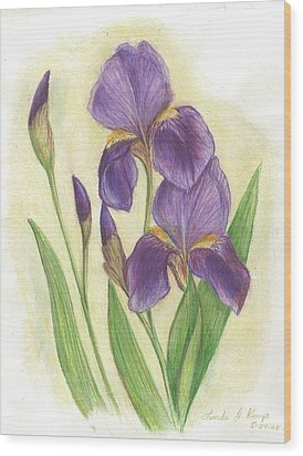 My Purple Irises Wood Print