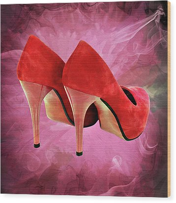 My Red Shoes Wood Print by Ericamaxine Price