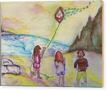 Wood Print featuring the painting My Sister My Brother My Kite by Helena Bebirian