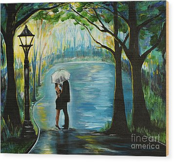 Wood Print featuring the painting My Soulmate by Leslie Allen