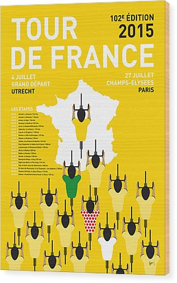 My Tour De France Minimal Poster Etapes 2015 Wood Print by Chungkong Art