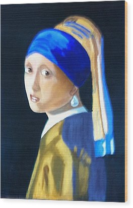 My Version-girl With The Pearl Earring Wood Print by Rod Jellison