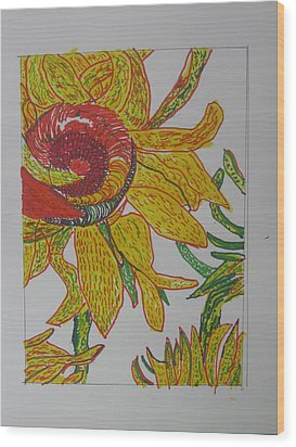 My Version Of A Van Gogh Sunflower Wood Print by AJ Brown
