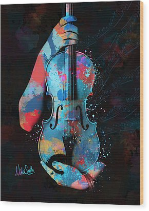 My Violin Whispers Music In The Night Wood Print by Nikki Marie Smith
