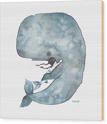 My Whale Wood Print by Soosh