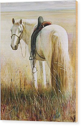 Wood Print featuring the painting My White Horse  by Ji-qun Chen