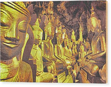 Myanmar Buddhas Wood Print by Dennis Cox WorldViews