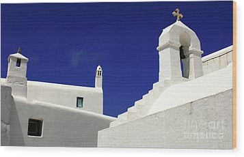 Wood Print featuring the photograph Mykonos Greece Architectual Line 5 by Bob Christopher