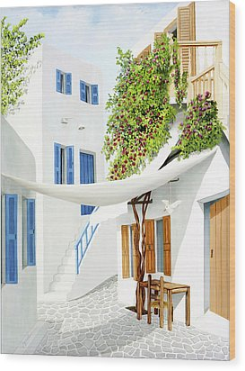 Mykonos Walk - Prints From My Original Oil Painting Wood Print